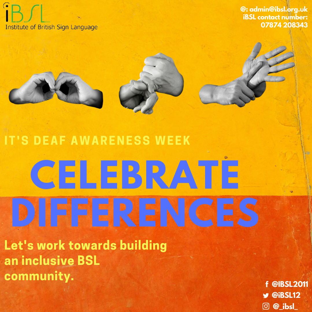 iBSL Deaf Awareness Week 2020 - Celebrate Differences